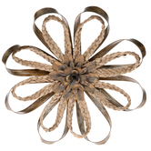 Metallic Gold Metal and Braided Grass Flower Wall Decor, 11 1/2 x 11 1/2 x 2 1/2 inches