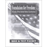 Christian Liberty Press, Foundation for Freedom Quiz and Test Packet, Paper, 65 Pages, Grades 8-12
