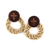 Radiant Sol, Cross on Round Wood with Rattan Circle Post Earrings, Brown