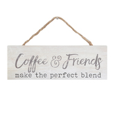 P. Graham Dunn, Coffee & Friends Wall Plaque, Pine Wood, White & Tan, 10 x 3 1/2 inches