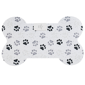 Paw Prints Doormat, Polyester and Rubber, Gray and White, 15 1/4 x 25 Inches