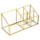 Fiddlestix Paperie, 5 Compartment Desk Organizer, Glass & Metal, Gold-tone, 3 1/2 x 8 1/2 x 4 inches