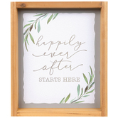Studio His & Hers, Happily Ever After Starts Here Wall Decor, MDF, White and Gray, 11 7/8 x 10 x 1 1/4 inches