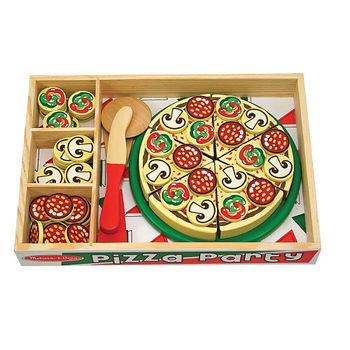 Melissa & Doug, Wooden Pizza Party Food Set, Ages 3 to 5 Years Old, 63 Pieces