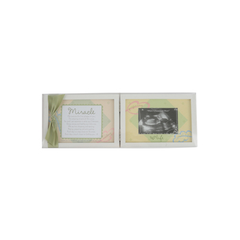 Grandparent Gift Co., Miracle Ultrasound Double Photo Frame, White, 5 x 13 inches