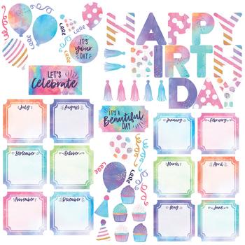 Retro Chic Collection, Birthday Bulletin Board Set, Multi-Colored, 60 Pieces