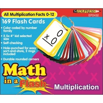 Edupress, Math in a Flash, Multiplication Facts 0-12, 2.5 x 4 Inches, 169 Cards