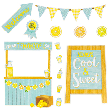 Teacher Created Resources, Lemon Zest Lemonade Stand Bulletin Board Set, 55 Pieces