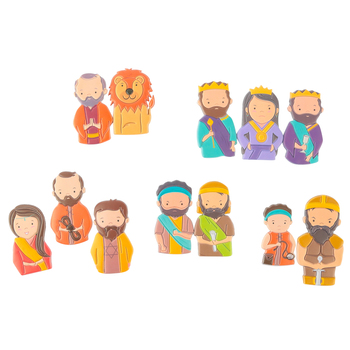 Playside Creations, Famous Bible Story Characters Foam Finger Puppet Set, Multi-Colored, 12 Puppets