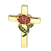H.J. Sherman, Cross Lapel Pin with Rose, Gold Plated, 7/8 x 1/2 inches