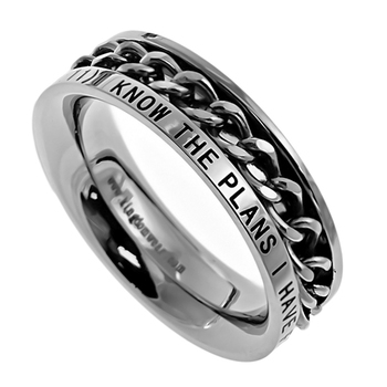 Spirit & Truth, Jeremiah 29:11, I Know, Inset Chain, Women's Ring, Stainless Steel