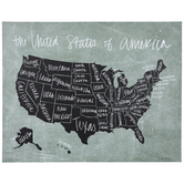 United States Map Wall Decor, Canvas, Black & Green, 24 x 30 x 1 1/4 Inches