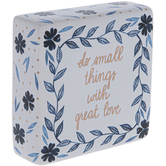 Small Things Great Love Tabletop Décor, Ceramic, White, Blues and Gold, 4 x 4 inches