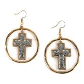 Oori Trading, Cross Hoop Dangle Earrings, Rhodium, Silver and Gold