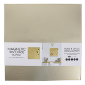 Magnetic Dry Erase Board with Marker and Magnets, Metal, Metallic Gold, 14 1/8 x 14 x 1 1/4 inches