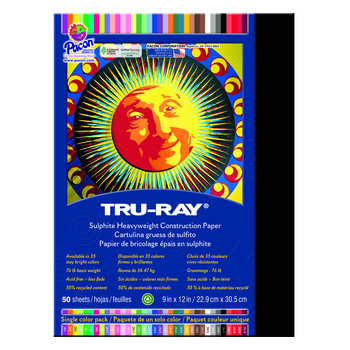 Tru-Ray® Sulphite Construction Paper, 9 x 12 inches, Black, 50 Sheets