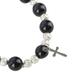H.J. Sherman, Cross Beaded Stretch Bracelet, Black and Silver