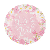 Brother Sister Design Studio, Hello Baby Small Paper Plates, Pink Floral, 8 Inches, Pack of 10