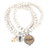 Oori Trading, Blessed Stretch Bracelet Set, Silver Plated, 3 Pieces