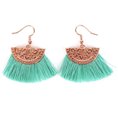 By His Grace, Blessed Fringe Dangle Earrings, Zinc Alloy and Brass, Rose Gold