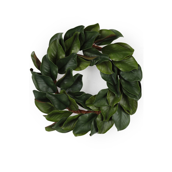 Bella Vita, Magnolia Leaves Wreath, Polyester, Green, 23 Inches