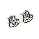 Howard's, Ear Sense, Antique Silver Heart Post Earrings, Antique Silver and Crystal Stone, 3/8 Inches
