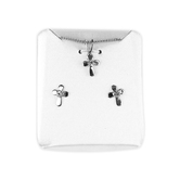 H.J. Sherman, Cross With CZ Stone Pendant and Stud Earring Set, Silver Plated