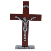 Abbey and CA Gift, Baptized In Christ Crucifix, Wood & Pewter, 4 inches