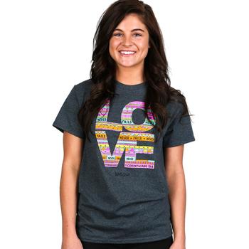 Kerusso, 1 Corinthians 13:8, Love Never Fails, Women's Short Sleeve T-Shirt, Dark Heather, S-4XL