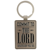 Christian Art, Commit to the Lord Key Ring in Tin, Silver, 2 3/4 x 4 1/2 inches