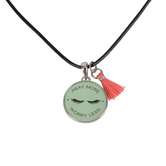 Glitter and Grace, Philippians 4:6-7 Pray More Worry Less Cord Necklace, Mint Green/Silver, 16 inch Cord