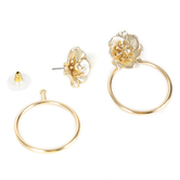 His Truly, Flower with Hoop Dangle Earrings, Zinc Alloy, Matte Gold