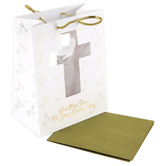 DaySpring, God Bless You On Your Special Day Gift Bag, White & Gold, Medium, 7 3/4 x 10 x 2 3/4 inches