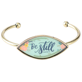 Bella Grace, Psalm 46:10, Be Still Cuff Bracelet, Zinc Alloy, Antique Gold, 2 1/2 inch diameter