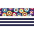 Renewing Minds, Flowers and Navy Stripes Double-Sided Trimmer, 38 Feet, Colorful Blooms