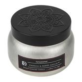 Darsee & David's, Vanilla & Berry Amber Candle Tin, Silver and Black, 3.98 ounces