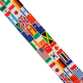 Renewing Minds, Wide Border Trim, 38 Feet, World Flags, Multi-Colored