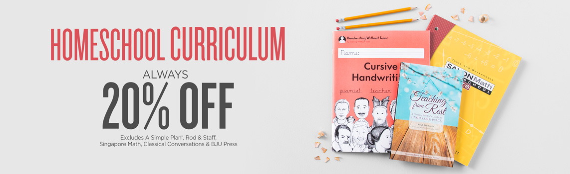 Homeschool Curriculum Always 20% OFF - Excludes Alpha Omega Publications, Rod & Staff, Singapore Math, Classical Conversations & BJU Press